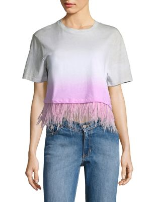 Cropped Dip-Dye Feather Cotton Tee
