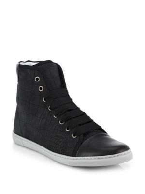 Sale alerts for Lanvin Croc-Embossed Leather High-Top Sneakers - Covvet