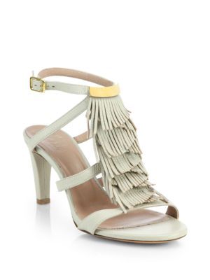 Chloe Leather Fringe Sandals