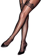Plus Curves Mock Spot and Lace Suspender Tights