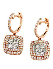 Diamond And 14K Rose And White Gold Drop Earrings, 1.29 TCW