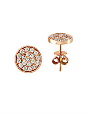 Pave Diamond and 14K Rose Gold Circle Stud Earrings