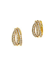 Doro Diamond and 14K Yellow Gold Huggie Hoop Earrings