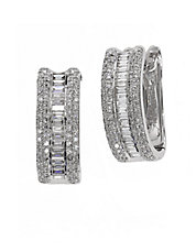 Diamonds And 14K White Gold Hoop Earrings, 0.88 TCW