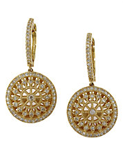 Doro Diamond and 14K Yellow Gold Drop Earrings, 0.72TCW