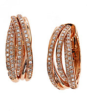 Diamond And 14K Rose Gold Hoop Earrings, 0.52 TCW