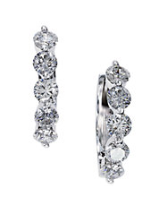 Diamond And 14K White Gold Hoop Earrings, 1.47 TCW