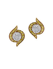 Canare Diamond,14K Yellow and White Gold Stud Earrings, 0.49TCW
