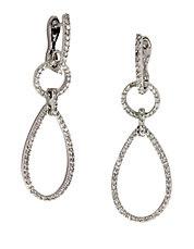 Pave Classica Diamond and 14K White Gold Teardrop Earrings, 0.80 TCW