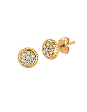 14K Yellow Gold and Diamond Circle Earrings