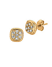 14K Yellow Gold and Diamond Square Earrings