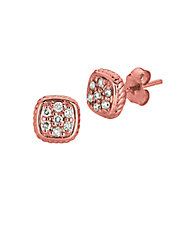 14K Rose Gold and Diamond Square Earrings