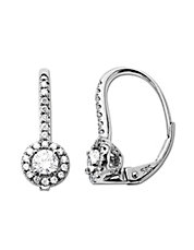 0.50 ct t w Diamond Hoop Earrings in 14 Kt White Gold
