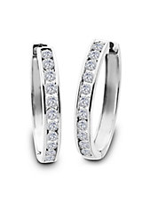 Diamond and 14K White Gold Hoop Earrings, 1.5 TCW - 1.5 In.