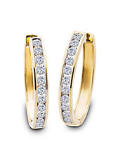 Diamond and 14K Yellow Gold Hoop Earrings, 1.5 TCW - 1.5 In.