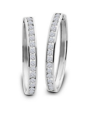 Diamond and 14K White Gold Hoop Earrings, 2 TCW - 2 In.