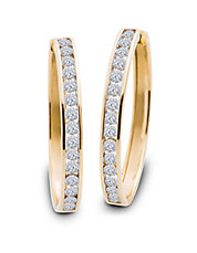 Diamond and 14K Yellow Gold Hoop Earrings, 2 TCW - 2 In.