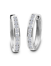 Diamond and 14K White Gold Hoop Earrings, 1 TCW -  1 In.