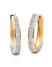 Diamond and 14K Yellow Gold Hoop Earrings, 1 TCW - 1 In.
