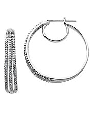 14 Kt White Gold 3 Row 0.50 ct t w Diamond Hoop Earrings