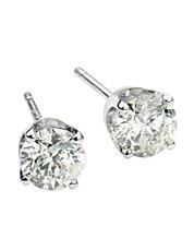 Diamond and 14K White Gold Stud Earrings, 0.25 TCW