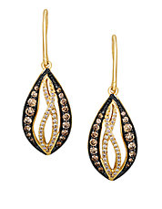 14K Yellow Gold Chocolate and White Diamond Drop Earrings