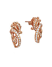 14K Strawberry Gold and Vanilla Diamond Earrings