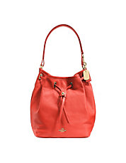 COACH TURNLOCK TIE BUCKET BAG IN MATTE SOFT GRAIN LEATHER