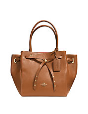 COACH TURNLOCK TIE SMALL TOTE IN REFINED PEBBLE LEATHER