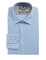 Fitted Gingham Pattern Dress Shirt