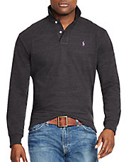 Long-Sleeved Classic-Fit Mesh Polo Shirt