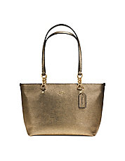 Sophia Small Metallic Pebbled Leather Tote