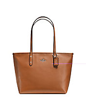 Leather City Zip Tote Bag