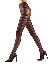 Raised Pinstripe Opaque Tights