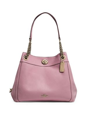 Edie Turnlock Leather Shoulder Bag by Coach
