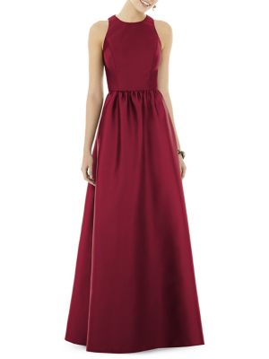 Full Length Sleeveless Sateen Twill Floor Length Dress by Alfred Sung