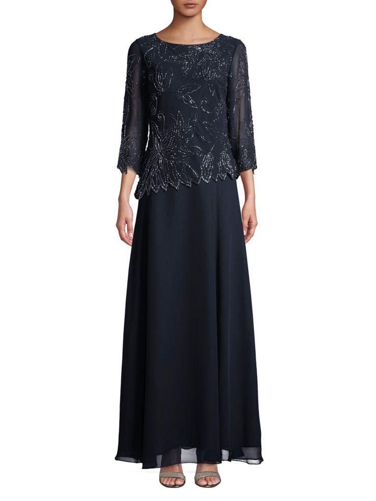 J Kara - Plus Three-Quarter Sleeve Beaded Gown - lordandtaylor.com