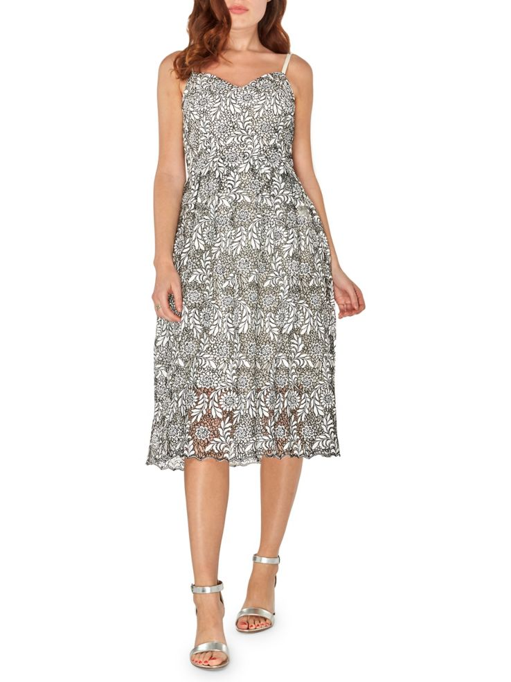 Dorothy Perkins Monochrome Lace Fit Flare Dress Lordandtaylor