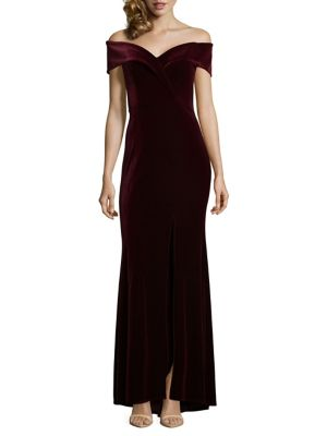 Off The Shoulder Mermaid Velvet Gown by Xscape