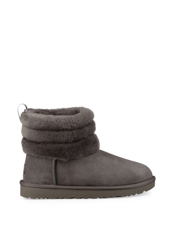 Ugg Mini Fluff Quilted Shearling Lined Suede Boots