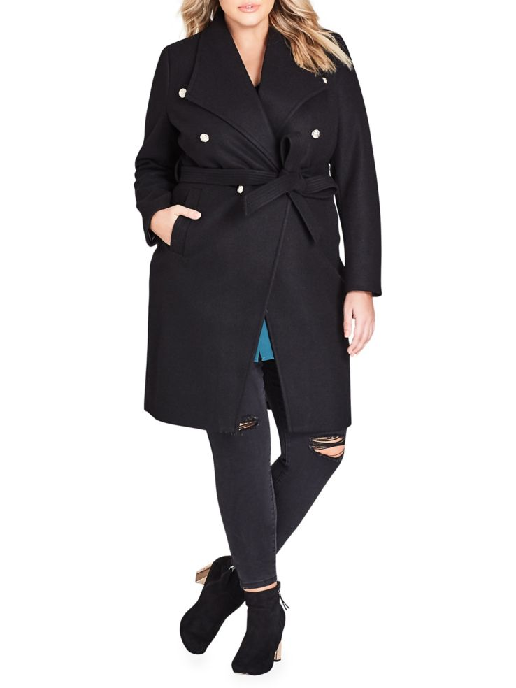 new style b41f7 9f145 City Chic - Plus Sassy Military Trench Coat - lordandtaylor.com