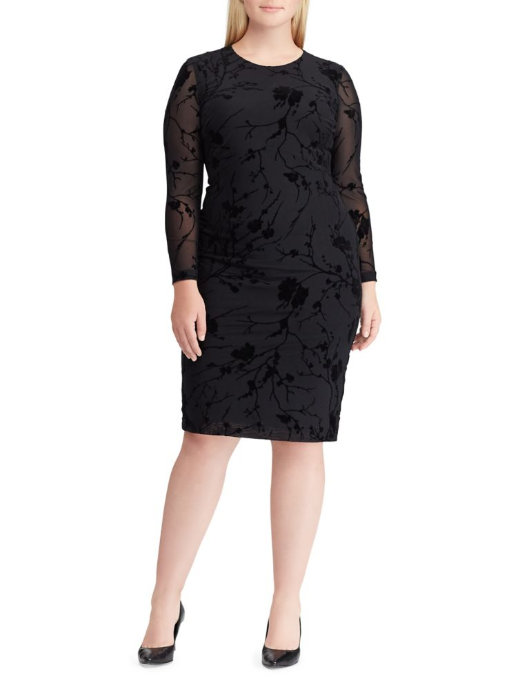 Lauren Ralph Lauren Plus Floral Mesh Sheath Dress Lordandtaylor