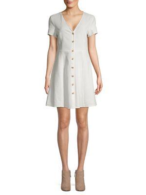 Linen Short Sleeve Button Front Dress by Vero Moda