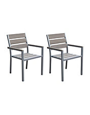 Two Piece Gallant Sun Bleached Outdoor Dining Chairs Part 8