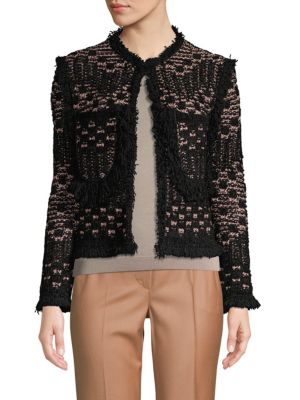Fringe Trim Tweed Jacket by M Missoni