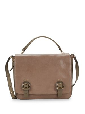 Flap Front Leather Satchel by Vince Camuto