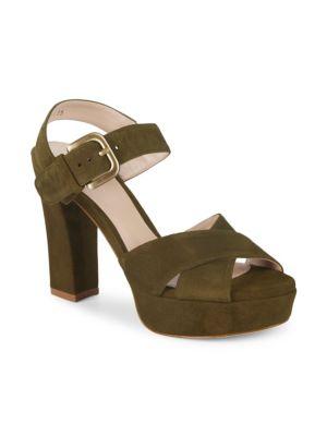 Block Heel Suede Ankle Strap Sandals by Stuart Weitzman