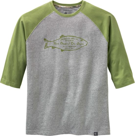 Men's Vintage Wooden Fish Raglan 3/4 Sleeve Tee at Legendary Whitetails