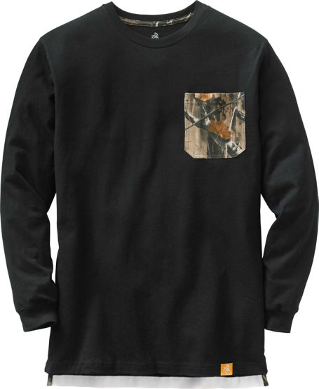 Men's Huntsman Long Sleeve Camo Pocket T-Shirt at Legendary Whitetails
