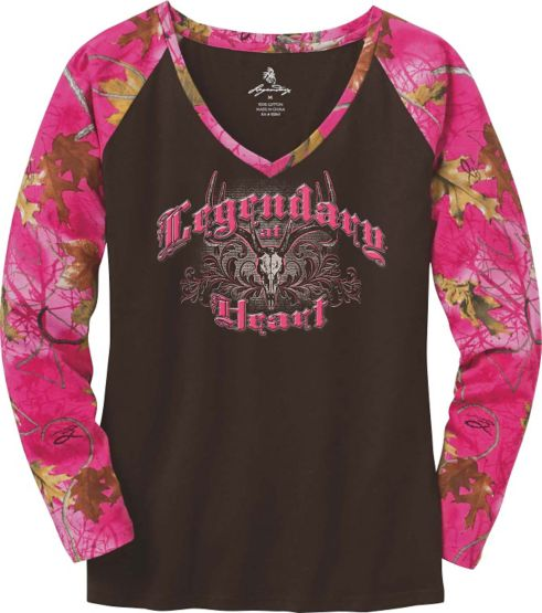 Ladies Legendary At Heart Pink Camo V-Neck Shirt at Legendary Whitetails